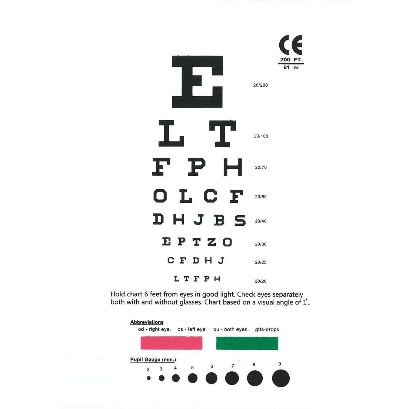 Unikits snellen pocket eye chart ecsp1snellen eye chart pocket size nvjuhfo Image collections